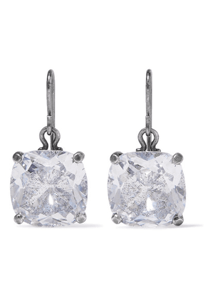 Bottega Veneta - Oxidized Silver Cubic Zirconia Earrings - one size