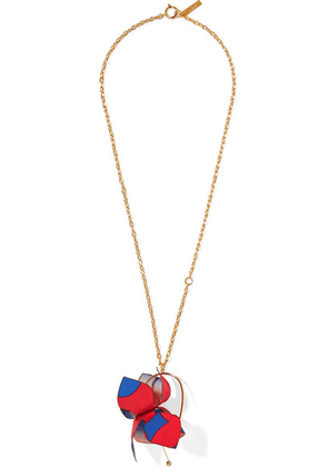 Marni - Gold-tone, Cotton-canvas And Crystal Necklace - Red