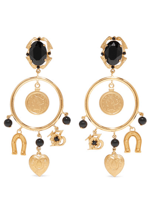 Dolce & Gabbana - Gold-tone Crystal Clip Earrings - one size