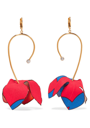Marni - Gold-tone, Cotton-canvas And Crystal Earrings - Red