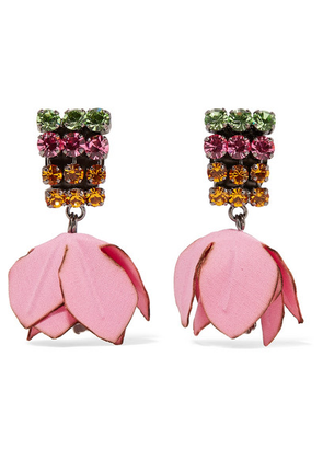 Marni - Gunmetal-tone, Cotton And Crystal Clip Earrings - Pink