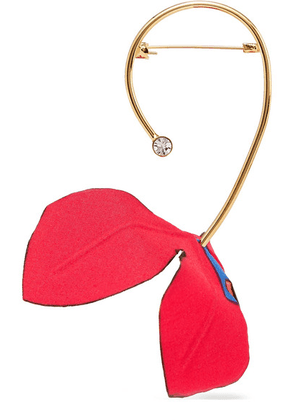 Marni - Gold-tone, Cotton-canvas And Crystal Brooch - Red