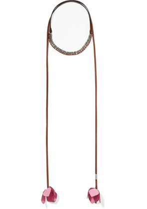 Marni - Leather, Silver-tone, Canvas And Crystal Wrap Necklace - Pink
