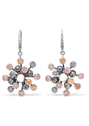 Bottega Veneta - Oxidized Silver, Crystal And Pearl Earrings - one size