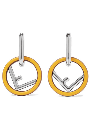 Fendi - Silver-tone, Wood And Enamel Earrings - one size