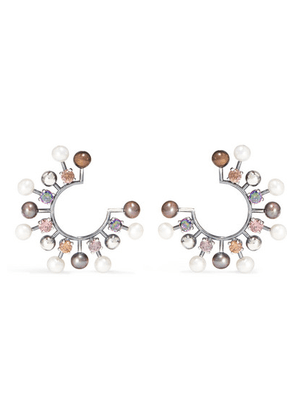 Bottega Veneta - Oxidized Silver-tone, Crystal And Pearl Earrings - one size