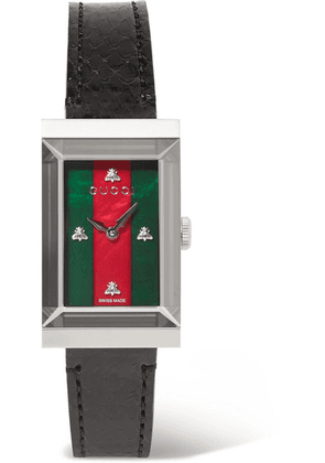 Gucci - G-frame Ayers, Stainless Steel And Mother-of-pearl Watch - Black
