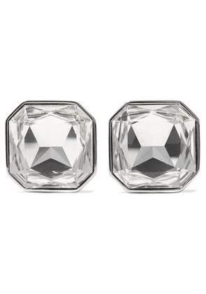 Saint Laurent - Smoking Silver-tone Crystal Clip Earrings - one size