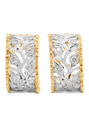 Buccellati - Ramage 18-karat White And Yellow Gold Diamond Hoop Earrings - one size