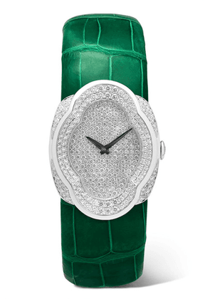 Buccellati - Opera 28mm 18-karat White Gold, Alligator And Diamond Watch - one size