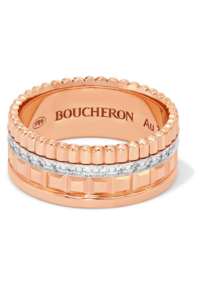 Boucheron - Quatre Radiant Edition Small 18-karat Rose And White Gold Diamond Ring - Rose gold
