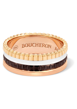 Boucheron - Quatre Classique Small 18-karat Yellow, Rose And White Gold Ring - 50