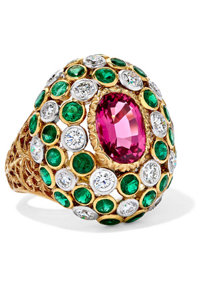 Buccellati - 18-karat Yellow And White Gold Multi-stone Ring - 52