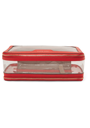 Anya Hindmarch - In-flight Leather-trimmed Perspex Cosmetics Case - Red