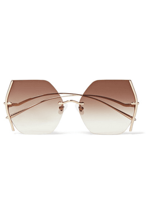For Art's Sake - Generation Square-frame Gold-tone Sunglasses - Brown