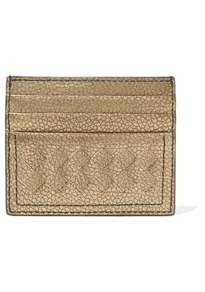 Bottega Veneta - Metallic Intrecciato Textured-leather Cardholder - Gold