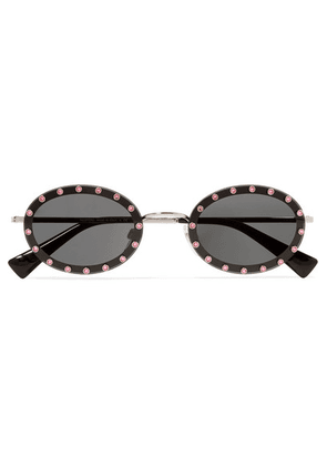 Valentino - Valentino Garavani Oval-frame Crystal-embellished Acetate And Gold-tone Sunglasses - Black