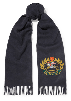 Burberry - Fringed Embroidered Cashmere Scarf - Navy