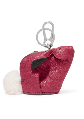 Loewe - Bunny Shearling-trimmed Textured-leather Bag Charm - one size