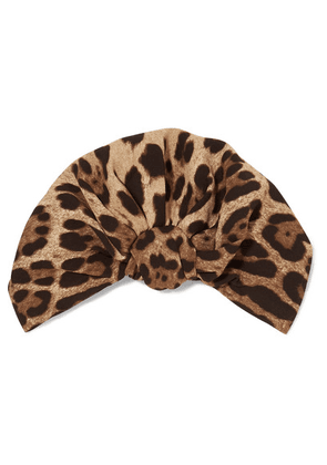 Dolce & Gabbana - Leopard-print Stretch-cady Turban - Brown