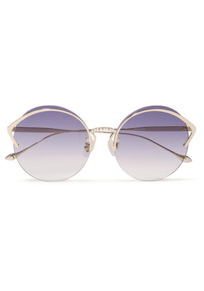 For Art's Sake - Margarita Round-frame Faux Pearl-embellished Gold-tone Sunglasses - Purple