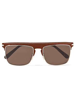 Loewe - D-frame Gold-tone And Textured-leather Sunglasses - Brown