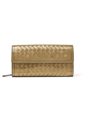 Bottega Veneta - Metallic Intrecciato Leather Continental Wallet - Gold
