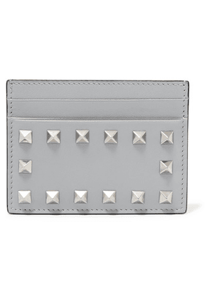Valentino - Valentino Garavani The Rockstud Leather Cardholder - Gray