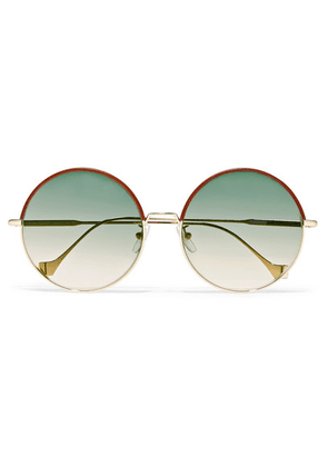 Loewe - Sharon Round-frame Gold-tone And Leather Sunglasses - Brown