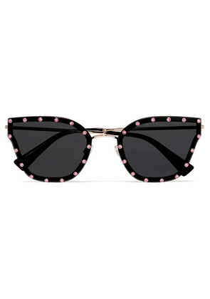 Valentino - Valentino Garavani Cat-eye Crystal-embellished Acetate And Gold-tone Sunglasses - Black