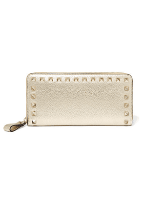 Valentino - Valentino Garavani The Rockstud Textured-leather Wallet - Gold