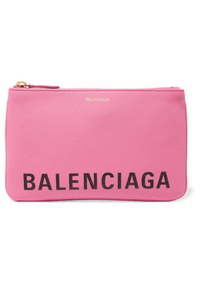 Balenciaga - Ville Printed Textured-leather Pouch - Pink