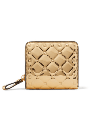 Valentino - Valentino Garavani The Rockstud Spike Embossed Mirrored-leather Wallet - Gold
