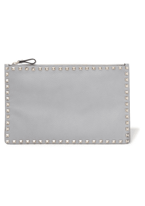 Valentino - Valentino Garavani The Rockstud Textured-leather Pouch - Gray
