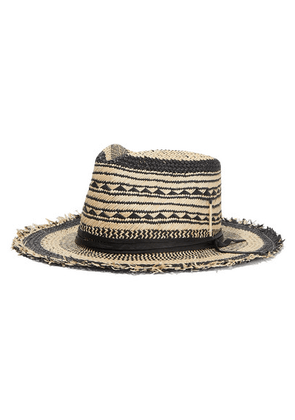 Nick Fouquet - Vagues Negra Leather-trimmed Straw Fedora - Black