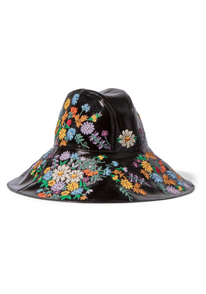 Gucci - Embroidered Patent Textured-leather Hat - Black