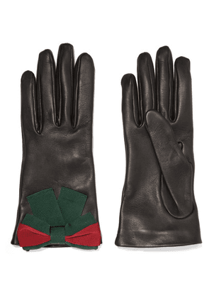 Gucci - Bow-embellished Textured-leather Gloves - Black