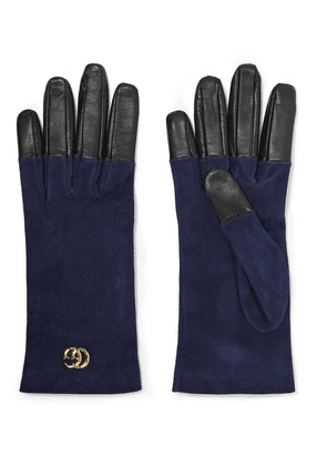 Gucci - Viola Suede And Leather Gloves - Navy