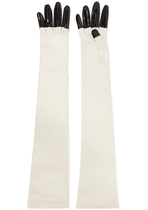Gucci - Rosa Patent And Textured-leather Gloves - Off-white