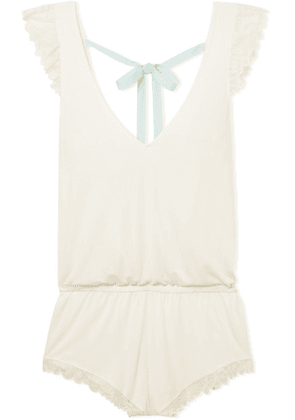 Eberjey - Rosario Lace-trimmed Stretch-modal Jersey Playsuit - Ivory