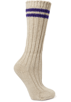 The Elder Statesman - Yosemite Striped Ribbed Cashmere Socks - White