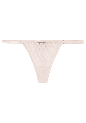 Cosabella - Envy Embroidered Stretch-satin And Tulle Thong - Blush