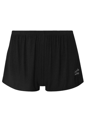 Les Girls Les Boys - Embroidered Ribbed Stretch-jersey Pajama Shorts - Black