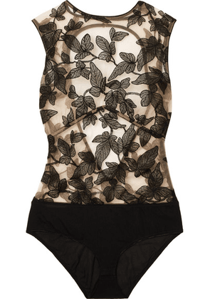 I.D. Sarrieri - Fleur Interdit Open-back Embroidered Stretch-tulle And Jersey Bodysuit - Black
