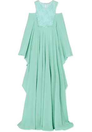 Rosamosario - Il Paradiso Puo' Attendere Cold-shoulder Lace And Silk-georgette Nightdress - Sky blue