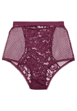 ELSE - Petunia Stretch-mesh And Corded Lace Briefs - Plum