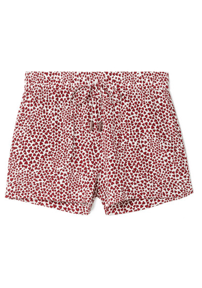 Anine Bing - Ashley Printed Washed-silk Pajama Shorts - Red