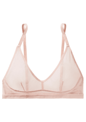 Skin - Ophelia Cotton-tulle Soft-cup Triangle Bra - Pastel pink