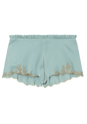Carine Gilson - Flottant Chantilly Lace-trimmed Silk-satin Shorts - Sky blue