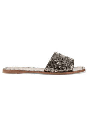 Bottega Veneta - Metallic Intrecciato Leather Slides - Gunmetal